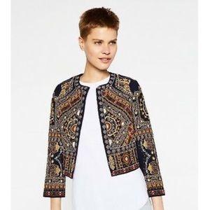 Zara Beaded Embellished Open Front Jacket Blazer M